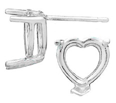 10mm Heart Earring Setting
