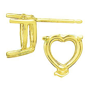 7mm Heart Earring Setting