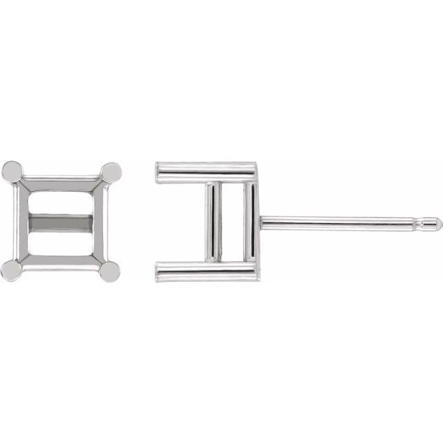 6mm Square Double wire Earring setting