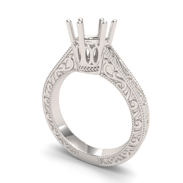 6.5mm Art Deco Crown Filigree Scrolls Solitaire