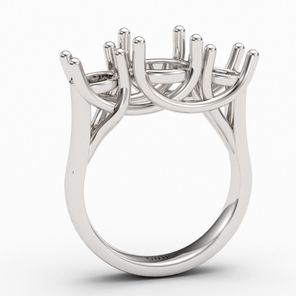 3 Stone Trellis Design Ring Mounting