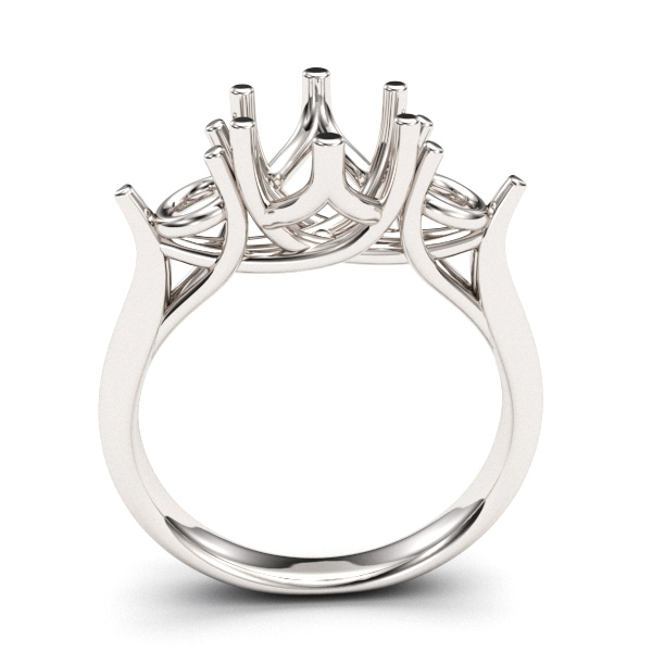 6 Prong 3 stone  Engagement Ring Setting