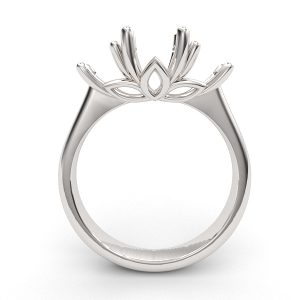 6.5mm Three Stone Lotus Ring Setting