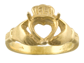 7 x 7 Heart Shape Claddagh Ring Mounting