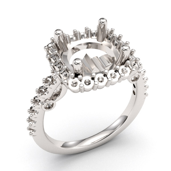 8.5mm Crescent Halo Pave Engagement Setting