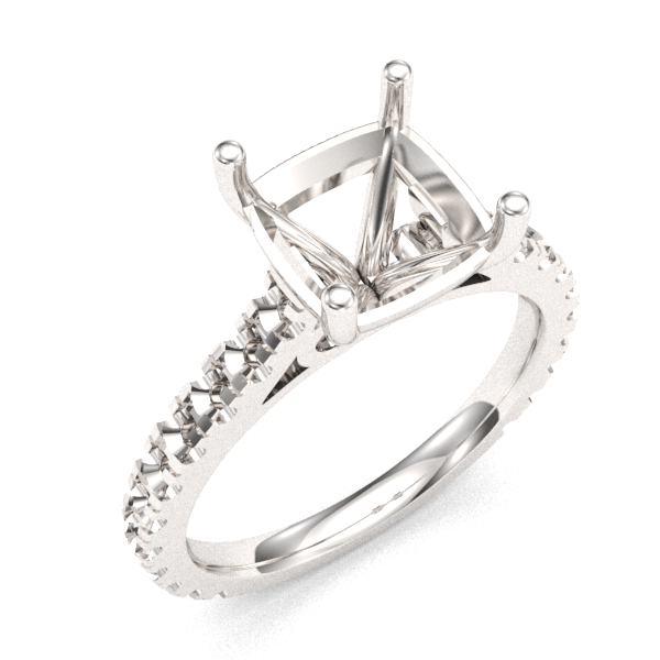 7mm Asscher Engangement Ring Setting