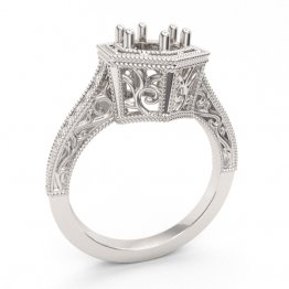 Royal Crown Antique Style Scroll Design Ring