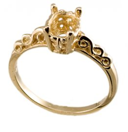 7 x 5 Oval Filigree Gold Ring Mounting